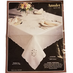 Tessile Amulet Cutwork Embroidery Oblong Tablecloth 12 Napkins #1296 Ecru 66x102