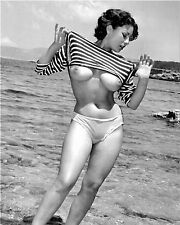 1960s Pinup June Palmer Holding Up Shirt On Beach 8 x 10 Photograph