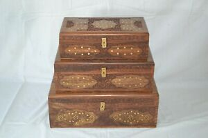Set of 3 Sheesham Wood Antique Chests