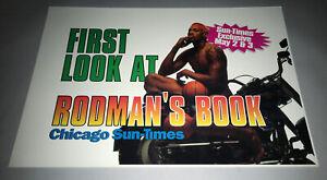 "Chicago Bulls 1996 11 x 16"" Newspaper Machine Dennis Rodman Book Promo Sign"