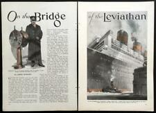 """SS Leviathan Ocean Liner 1931 vintage Pictorial """"On the Bridge of the Leviathan"""""""