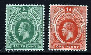SOUTHERN NIGERIA KG V 1912 ½d. & 1d. Values Wmk Mult Crown CA SG 45 & SG 46 MINT