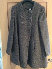 New La Redoute women's collarless coat 12 wool grey black double breasted retro
