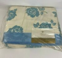 Fieldcrest Blue Floral Brocade Rayon Acrylic Bed Blanket 72x 90 USA Made NOS NEW