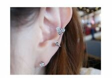 #1060HOT ! 1Pc Heart Shaped Silver Plated Rhinestone Ear Cuff Warp Clip Ear Stud