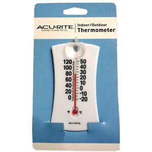 AcuRite Mini Thermometer 00320W Window Suction Cup Mount Indoor Outdoor Temperat