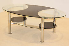 Coffee Table Black Clear Glass Oval Top with Shelf Chrome Tubular Legs
