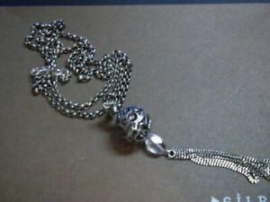 Silpada Sterling Silver Filigree Sphere Crystal Tassel Pendant Necklace N1502