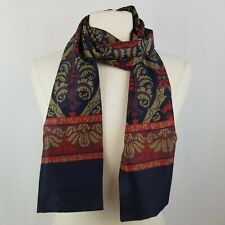 Vintage Mens Cravat Ascot Scarf Tie Navy Blue Red Gold Jacquard Wrap 60 x 8.25