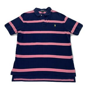 Ralph Lauren Polo Shirt Adult Large Blue Pink Striped Casual Yellow Pony Mens