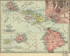 A4 Reprint of Old Maps 1912 Map Of Hawaii And Islands Honolulu Etc