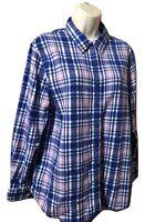 Lands' End Women's Blouse 16 Petite Plaid Long Sleeve Cotton Button Down Shirt