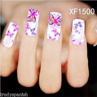 Nail Art Water Decals Stickers Wraps Neon Butterflies Butterfly Gel Polish 1500