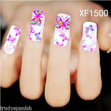 Nail Art Water Decals Stickers Wraps Neon Butterflies Butterfly Gel Polish 1500