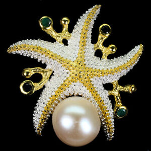 Unheated Round Emerald Pearl Sapphire 925 Sterling Silver Star Pendant Brooch