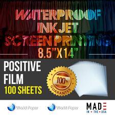 WATERPROOF Inkjet Transparency Film for Screen Printing 8.5