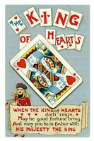 Playing Card ~ King of Hearts~Good Fortune~Antique Greetings Postcard-s864