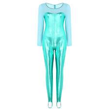 Catsuit Womens Wetlook Zipper Crotch Bodysuit Metallic Dance Tank Leotard Club