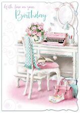 "Open Female Birthday Card - Pink Typewriter, Desk, Handbag & Roses 7.75"" x 5.25"""