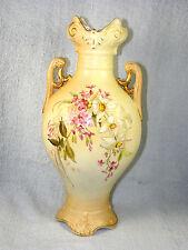 "Antique 11"" RH Austria Robert Hanke Hand Painted Double Handled Porcelain Vase"