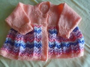 New Hand Knitted Multi Colour Matinee Jacket  3/6 months