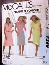 McCALL'S SEWING PATTERN  NO. 7399 LADIES DRESS SIZE 12,14,16