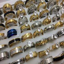50PCS Mix STAINLESS STEEL RINGS MEN WOMMEN CZ ZIRCON WEDDING WHOLESALE LOTS