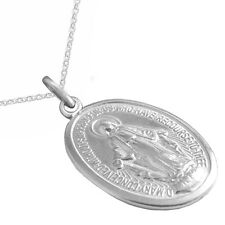 New Solid Silver Virgin Mary Miraculous Medal Necklace Catholic Jewellery
