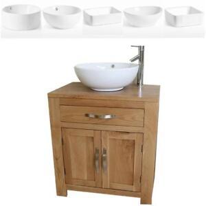 Bathroom Vanity Unit | Solid Oak Single Sink Cabinet | Ceramic Basin Tap & Plug