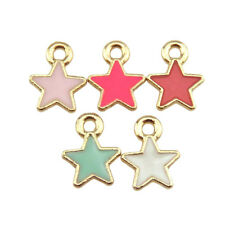20953 Mixed 20pcs Gold Plated Alloy Enamel Red White Star Pendant Ends Jewelry