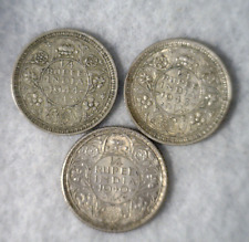INDIA 1/4  RUPEE 1940 , 1943 AND 1944  --- 3 SILVER BRITAIN COINS (stock# 350)