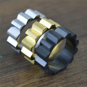 8mm Titanium Men's Gear Ring Size 7-12 Gothic Biker Punk Jewelry Ring Gear Shape