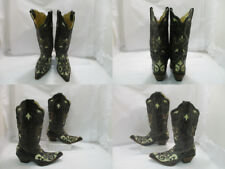 Ladies Distressed Lizard Leather Corral Western Boots sz:7M (#19670 Z)