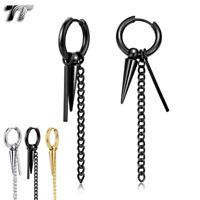 EH91 TT Stainless Steel Thick Hoop Earrings Silver//Black NEW