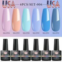MEET ACROSS 8ml 6Bottles UV Gel Nail Polish Soak Off Varnish Manicure Blue Pink