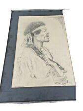 Vintage Guitar Jimmy Hendrix Drawing Artist Signed By Artist