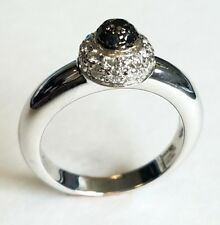 Chopard 18K White Gold White And Black Diamond Ladies Ring MSRP $3,600.00