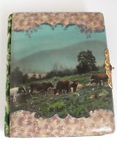 Antique  Cattle Ranchers Celluloid Photo Album 6 Steer in a Pasture