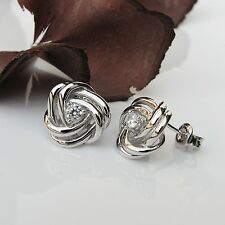 Ohrstecker Echt 925 Sterling Silber Knoten Ohrringe mit Zirkonia