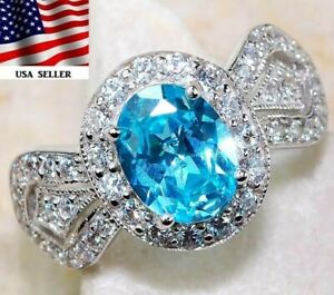3CT Aquamarine & White Topaz 925 Solid Sterling Silver Ring Jewelry Sz 7, M1