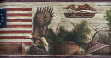 Burgundy and Brown Lodge Eagles Wallpaper Border 48052 TC
