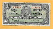 1937 BANK OF CANADA 1 DOLLAR BILL F/M8101314 (CIRCULATED)