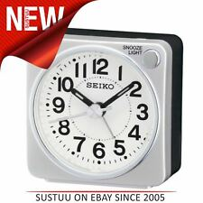 Seiko QHE118S Bedside Alarm Clock│Small Travel Clock│Snooze Light│Silver│