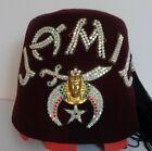 Vintage JAMIL Jeweled Fez Hat, Vintage Shriner Fez Hat Jamil, Vintage Jamil Fez