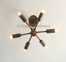 Mid Century Modern Antique Brass Sputnik Chandelier Ceiling Lamp - 6 Arms