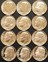 1968-1979 S Roosevelt Dime Gem Cam Proof Run 12 Coin Set US Mint Lot.