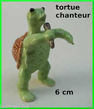 tortue chanteur miniature en porcelaine,musicien, microphone, collection, **C10