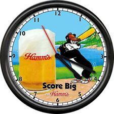 A Hamm's Hamms Baseball Costume Beer Bear Bar Tavern Sign Wall Clock