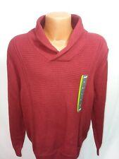 John Bartlett Consensus NWT 100% Cotton Mens Sweater Size L Burgundy Shawl Colla