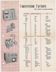 1950s-60s Conversion Factors for Servo Calculations -Industrial Control Company